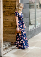 Floral Belted A-Line Maxi Dress