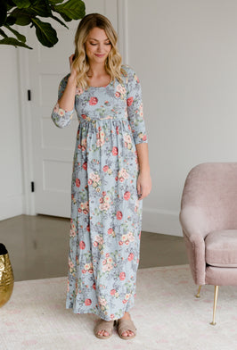 Inherit Co.  | Women's Modest Dresses | Floral 3/4 Sleeve Asymmetrical Hem Midi Dress |