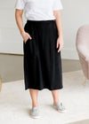 Black Knit Pocket Midi Skirt