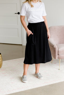 Inherit Co.  | Below the knee and midi | Remi Light Khaki Midi Skirt |