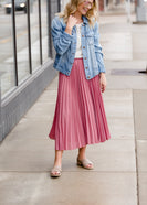 Pleated Mauve Midi Skirt - FINAL SALE