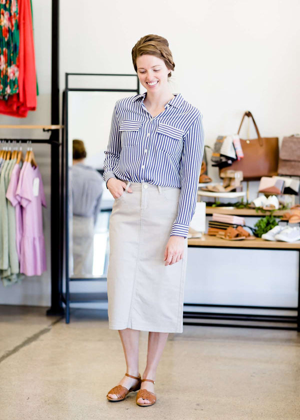 Inherit Co.  | Modest Women's Skirts | Remi Gray Midi Skirt | Woman wearing a gray below the knee skirt