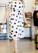 Black and white modest polka dot midi women's dress