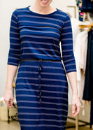 navy and white striped modest women's midi dress