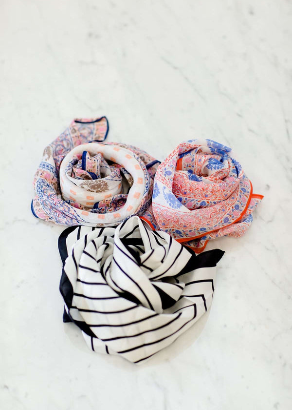 Floral and geometric print, orange and blue bandana scarves