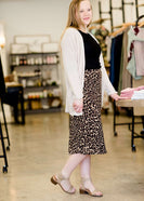Leopard print midi length pencil skirt
