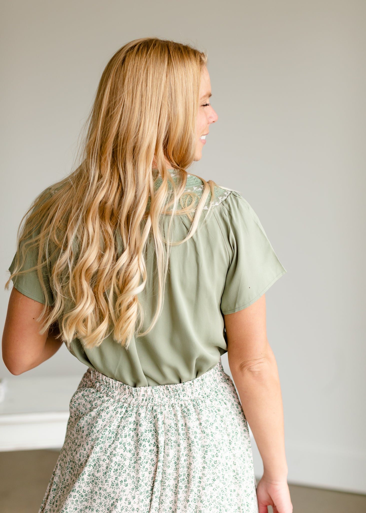 Olive Embroidered Flounce Top
