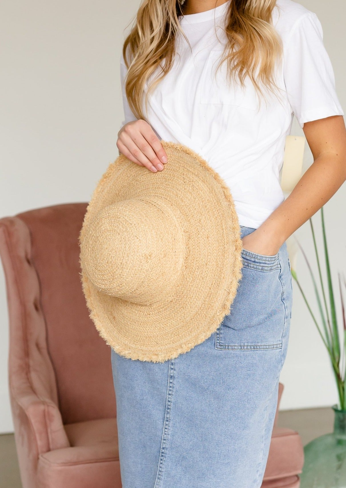 Ivory Straw Braided Sun Hat