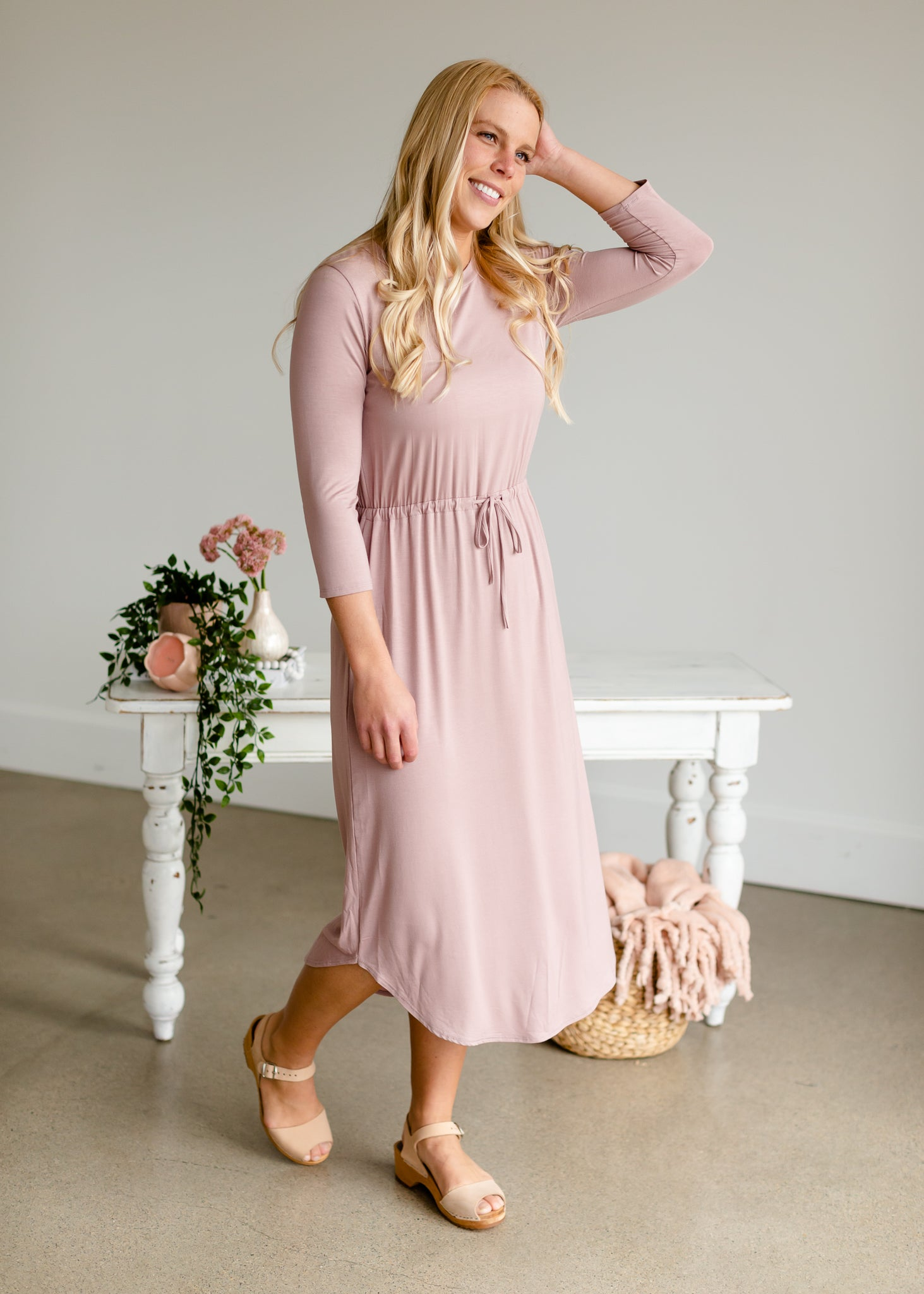 Kirsten 3/4 Sleeve Buttersoft Midi Dress