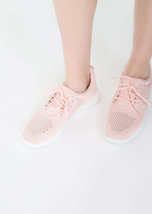 Inherit Co.  | Women's Shoes & Accessories | Knit Mix Blush Sneaker - FINAL SALE | blush colored lace up women's sneaker
