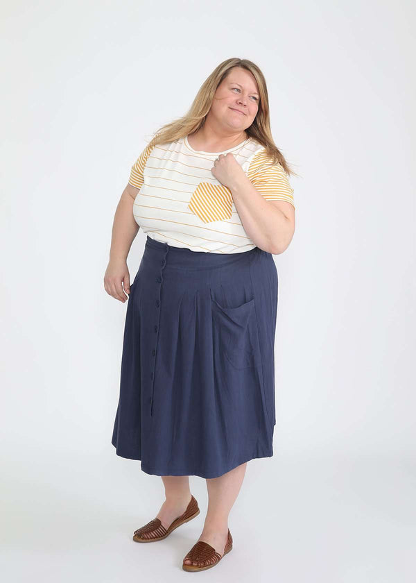 Inherit Co.  | Modest Women's Skirts | Pocket Front Midi Skirt - FINAL SALE | plus size navy button front midi skirt