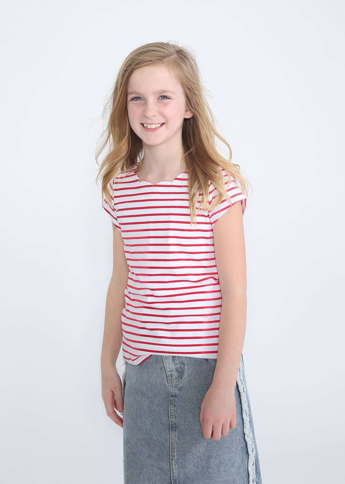girls modest red striped scalloped top