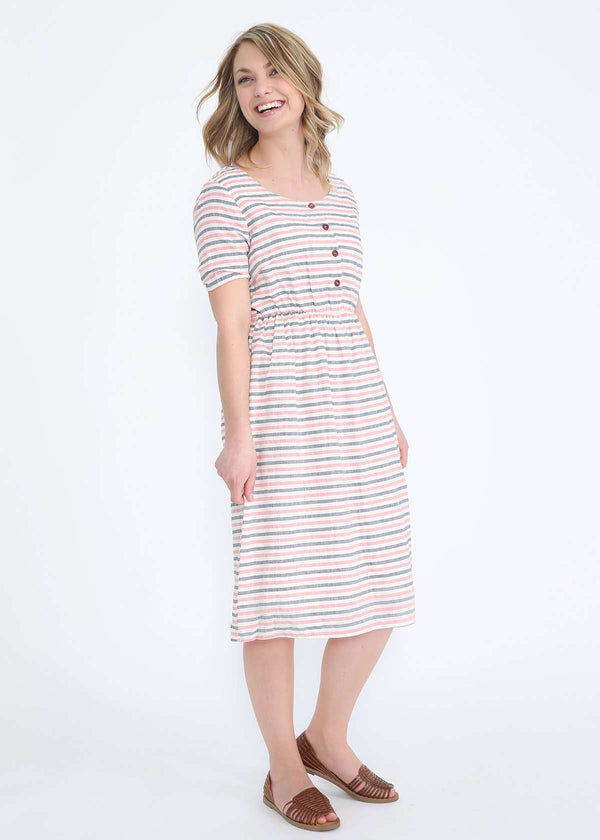 Inherit Co.  | Women's Modest Dresses | Rojo Striped Midi Dress - FINAL SALE | modest womens red and blue striped midi dress with pockets