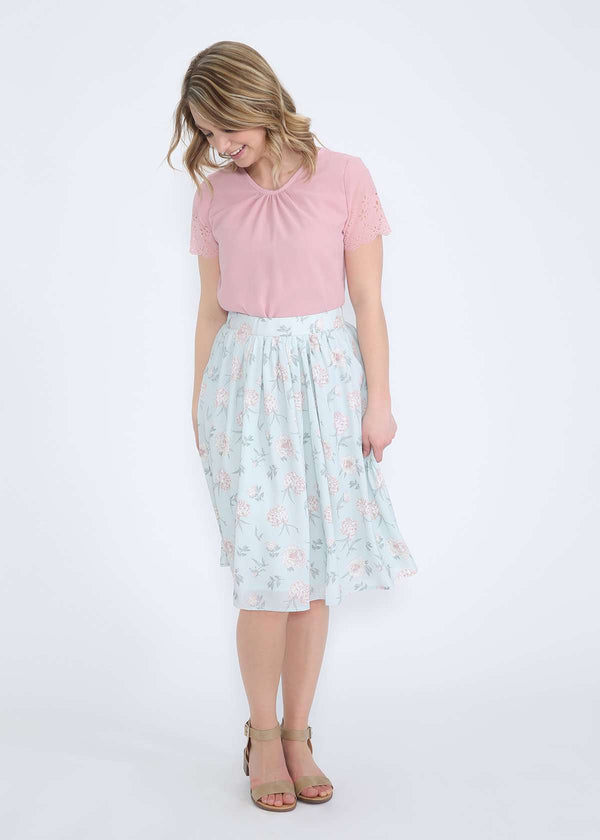 Inherit Co.  | Modest Women's Skirts | Chiffon Floral Midi Skirt - FINAL SALE | mint and floral modest polyester midi skirt