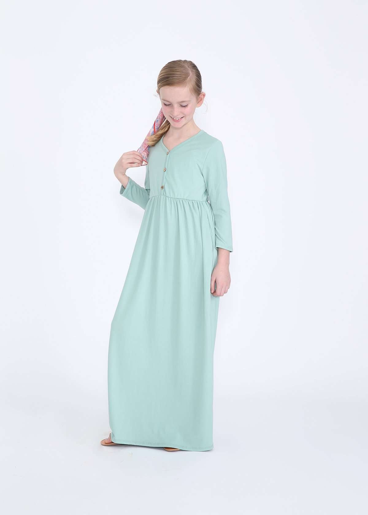 Modest girls mint maxi dress with faux buttons