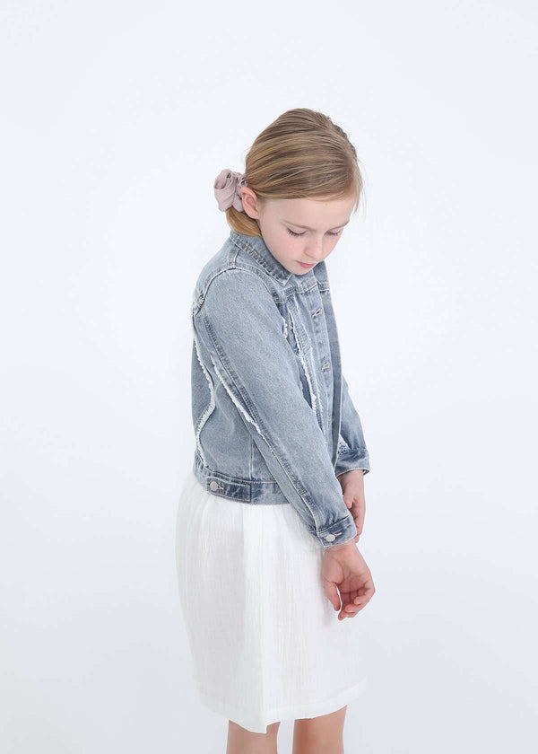 Inherit Co.  | Girls Modest Clothing | Frayed Denim Trucker Jacket - FINAL SALE | girls modest frayed denim jean jacket