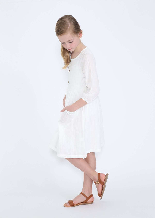 827bb784cd907 modest girls white peasant dress with pockets and buttons