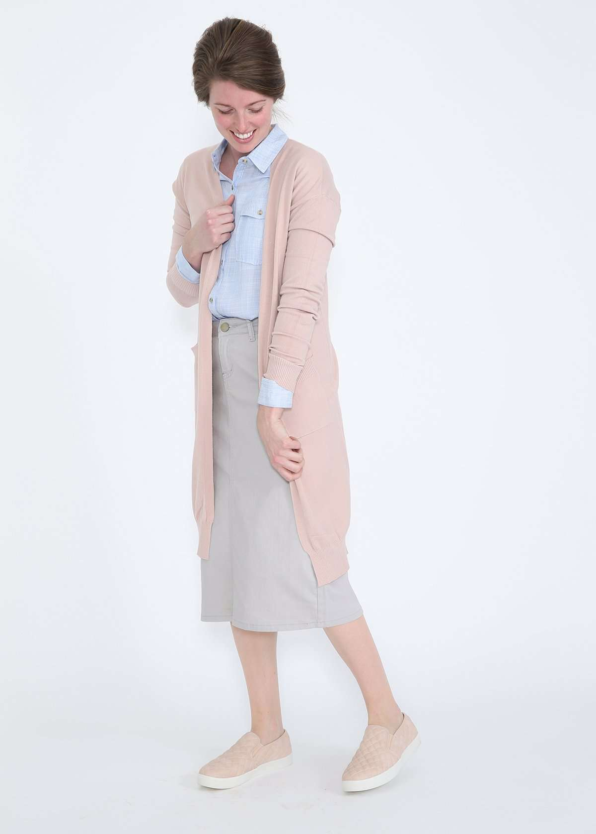 Buttery soft cozy cardigan in blush or gray