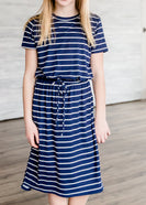 Buttery Soft Navy Striped Midi Dress