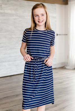 Inherit Co.  | Girls Modest Clothing | Blue Striped Embroidered Midi Dress |