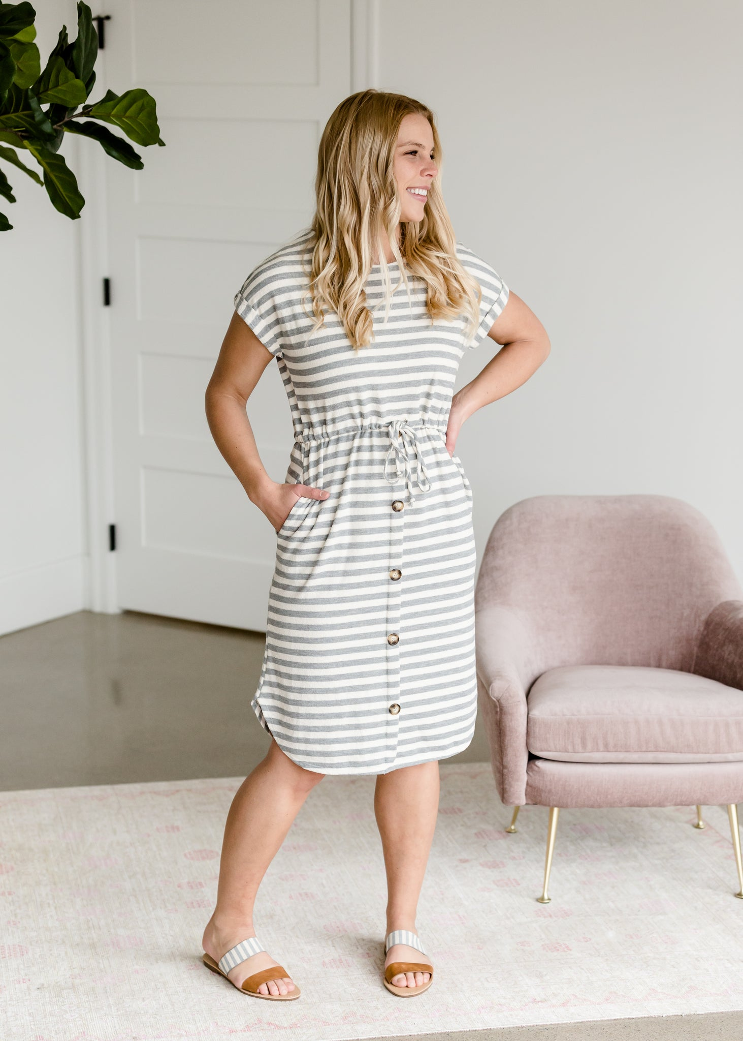 Terry Knit Gray Midi Dress
