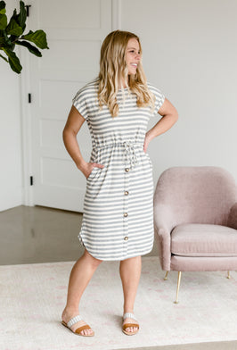 Inherit Co.  | Women's Modest Dresses | Multi Striped Knit Drawstring Midi Dress |