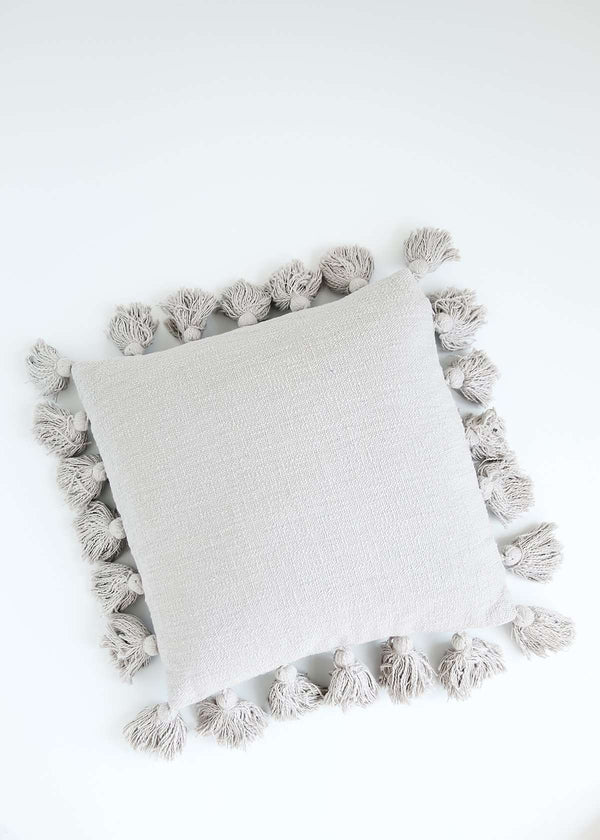 Inherit Co.  | Home + Lifestyle | Cotton Throw Pillow With Tassels | gray textured cotton throw pillow with tassels
