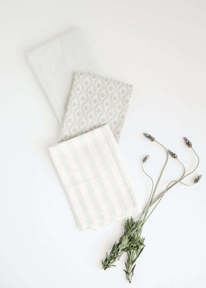 Mint colored printed 100% Cotton Tea Towels
