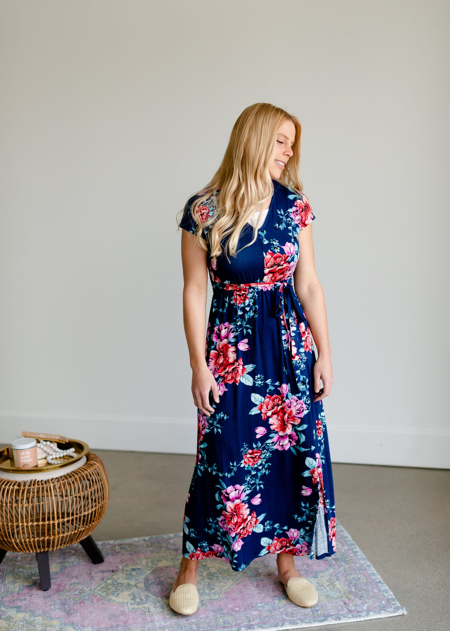Navy Floral Wrap Front Dress