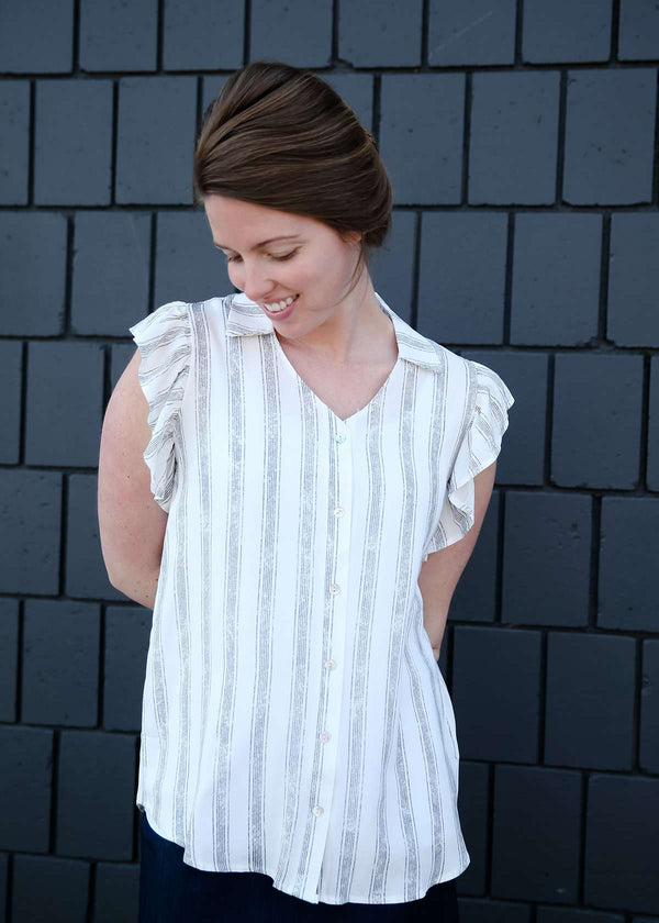 Modest women's ruffle detailed stripe flowy tank top