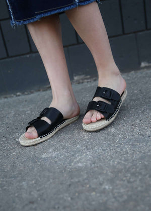Gray and Black Rope Sole Womens Sandals
