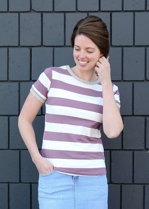 purple and white large stripe modest women's tee shirt