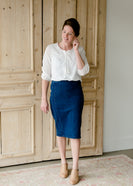 Panel Stitch Denim Jean Midi Skirt - FINAL SALE