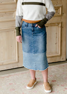 Denim Blocked Midi Jean Skirt - FINAL SALE