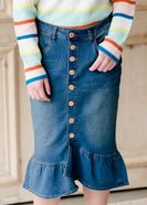 Ruffle Button Denim Jean Midi Skirt - FINAL SALE