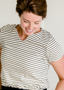 Short Sleeve Striped V-Neck Tee - FINAL SALE