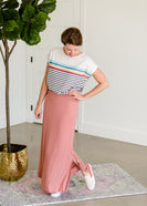 Rainbow Striped French Terry Tee