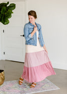 Short Sleeve Colorblock Mauve Maxi Dress