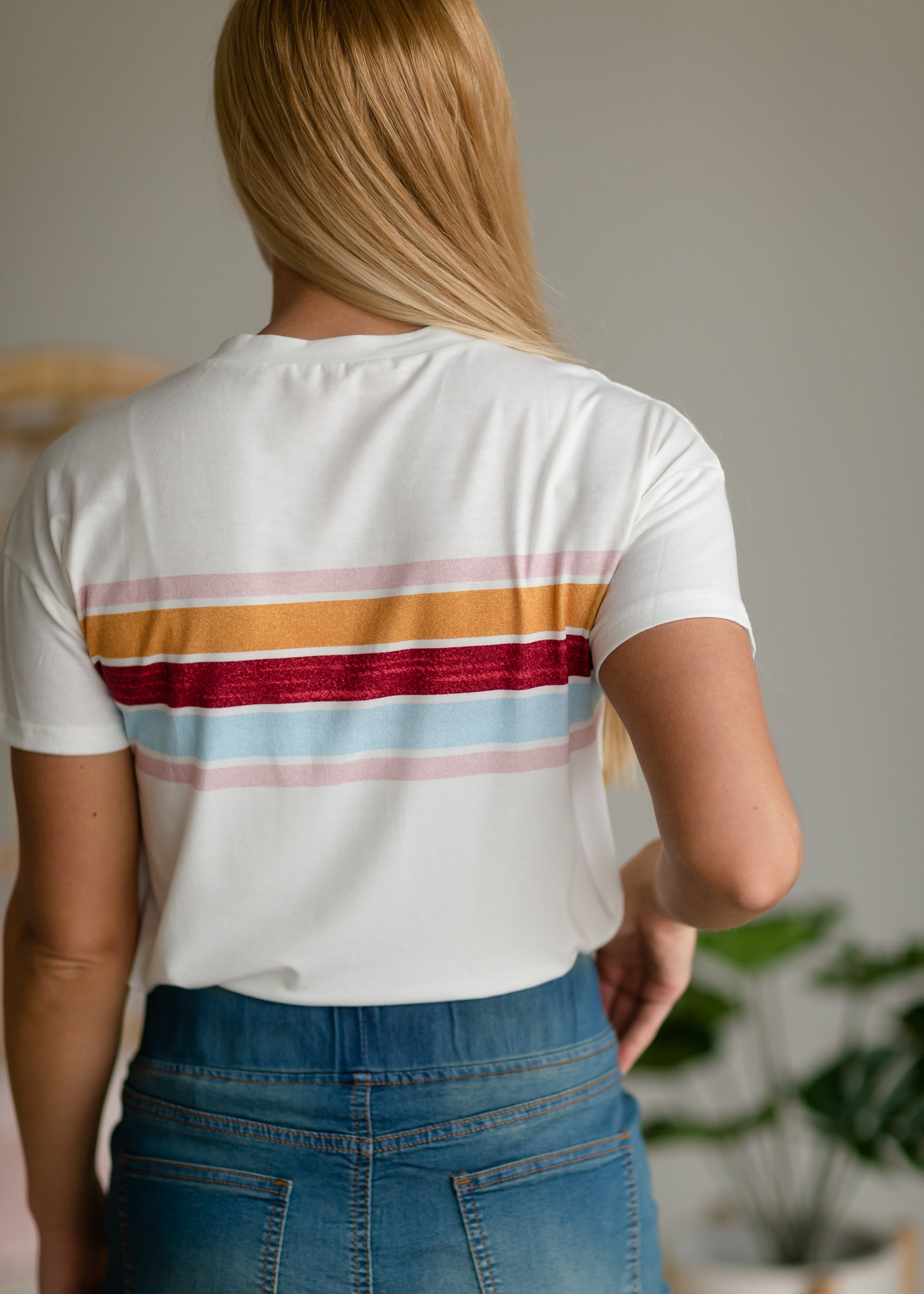 Multi Stripe Round Neck Tee