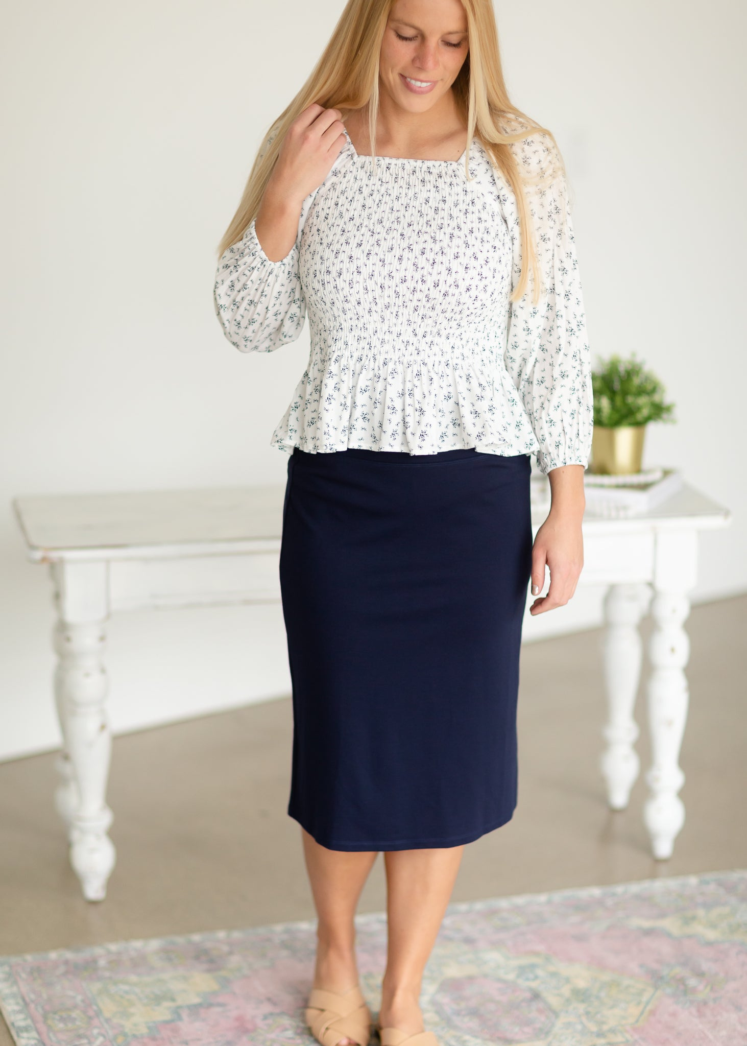 Quinn Navy Knit Midi Skirt
