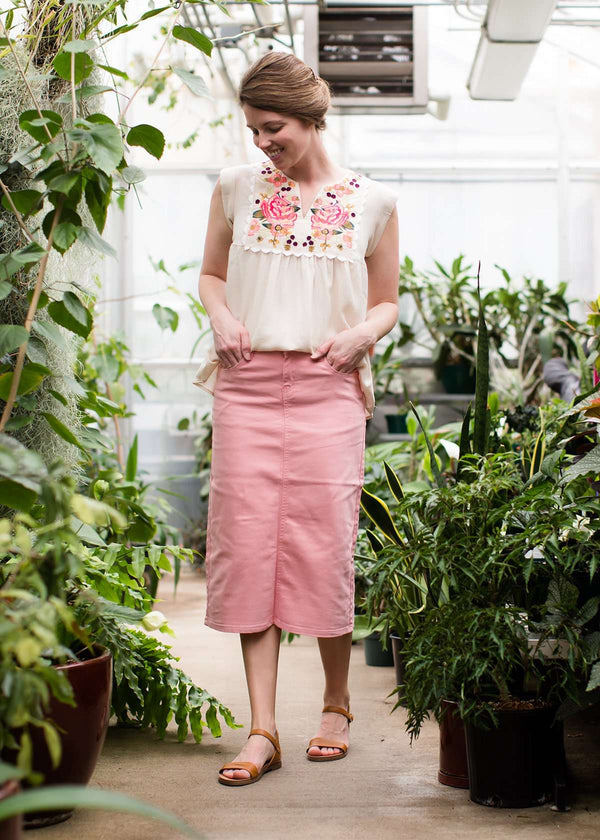 Inherit Co.  | Modest Women's Skirts | Remi Pink Midi Skirt | Pink colored denim below the knee skirt