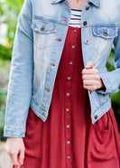 Modest women's light denim jean jacket