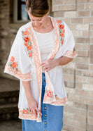Embroidered Floral Open Front Kimono - FINAL SALE