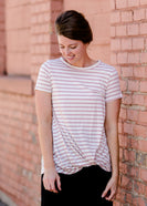Blush Front Striped Knot Tee - FINAL SALE