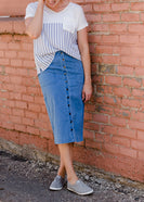 Navy Mixed Stripe Top - FINAL SALE