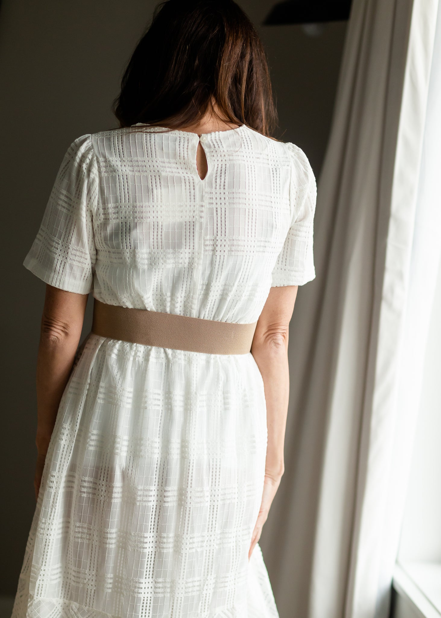 White Overlay Midi Dress