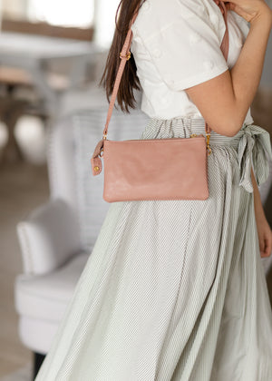 Blush Clutch + Crossbody Bag