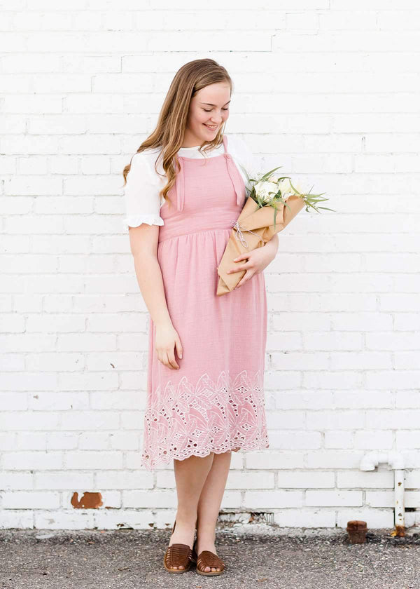 Cotton Overall Tie Embroidered Hem Midi Dress