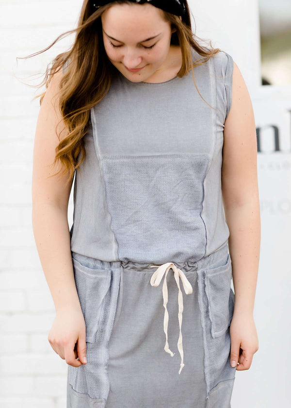gray thermal knit contrast sleeveless dress