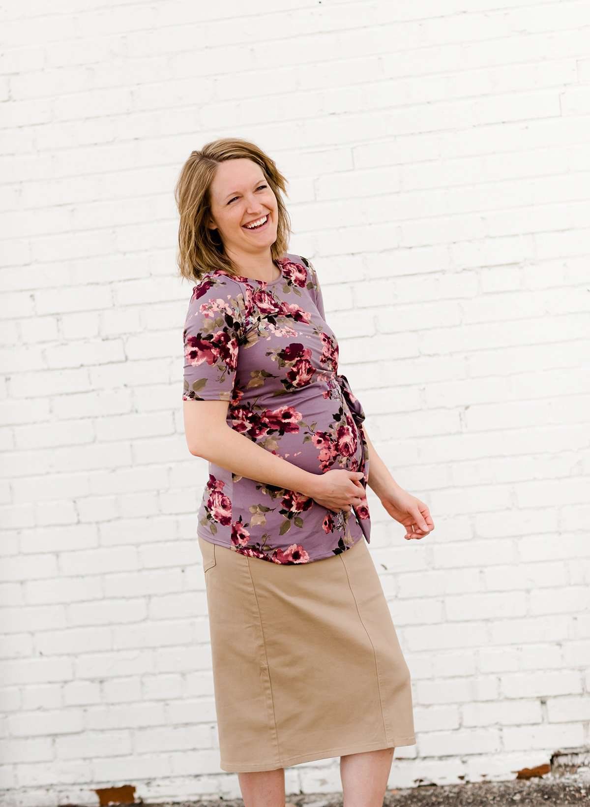 Modest floral buttery soft maternity top
